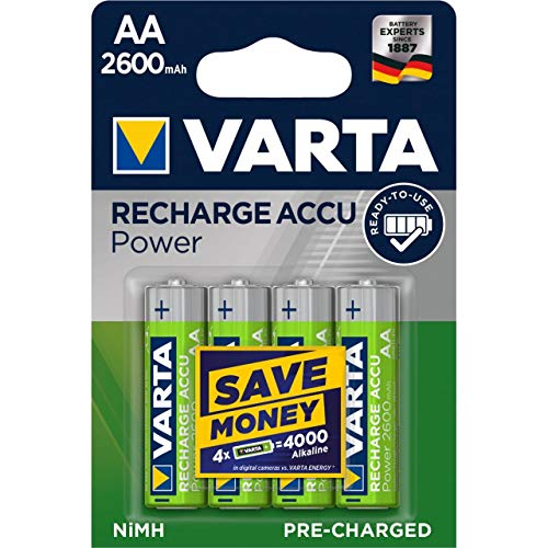 Varta Power Pila Recargable Ready2Use LR06 Migon AA Blister 4uds. 2600mAh