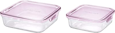 iwaki(イワキ) 耐熱ガラス 保存容器 ピンク 角型 L 1.2L パック&レンジ KC3248N-P & 耐熱ガラス 保存容器 ピンク 角型 M 800ml パック&レンジ KC3247N-P 【セット買い】