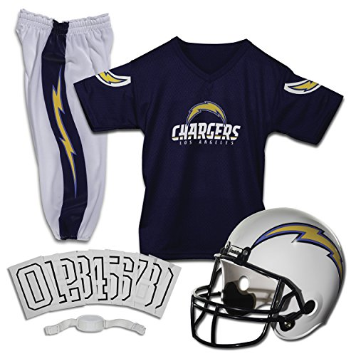 Franklin Sports Los Angeles Chargers Kids Football Uniform Set - NFL Youth Football Costume for Boys & Girls - Set Includes Helmet, Jersey & Pants - Medium