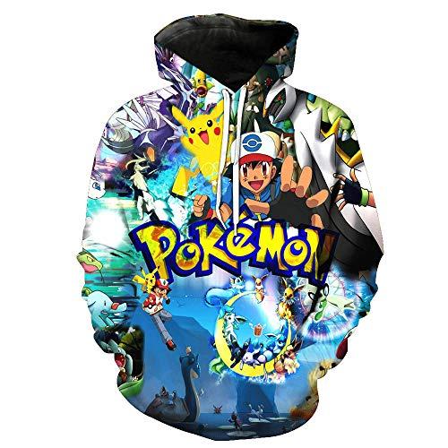 ZXTXGG Männer 3D Hoodies Junge und Pokémon Muster Baseballuniform Football Team Digitaldruck Liebhaber Kapuzenpullis Großhandel(S,Bunt)