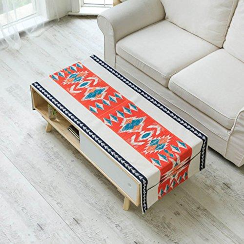 Nappe en lin de coton style ethnique rectangulaire table basse tissu double côté des draperies de conception de poche (Color : C, Size : 60×160cm)
