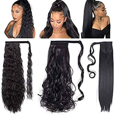 3 Pack Long Ponytail Extension Wrap Around Synthetic Ponytail Magic Paste Ponytail Hairpiece for Women (Straight+Corn Wave+Curly Wave)