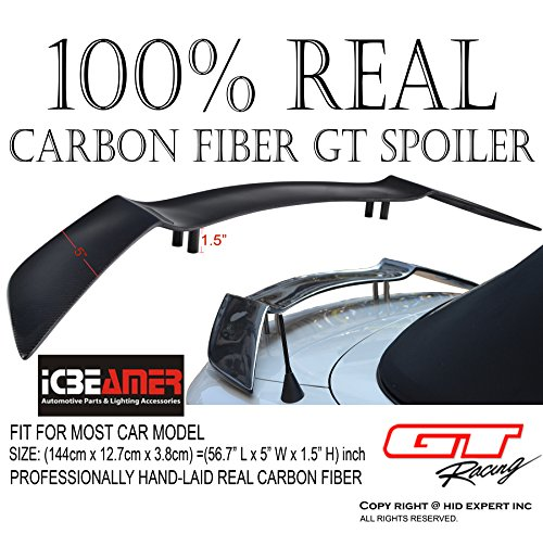 "ICBEAMER JDM GT Style 57"" 100% Real Carbon Fiber Spoiler Wing Universal Fit Rear Trunk Coupe Sport Sedan"