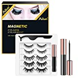 Ailun Magnetic Eyeliner and False Eyelashes Kit Bulk Fluffy Natural Look Faux Mink Lashes Long Extension Eyelashes with Tweezers,Easy to Wear,Reusable and No Glue Needed [5 Pairs-10 Count]