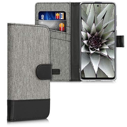 kwmobile Funda Compatible con Samsung Galaxy A71 - Carcasa de Tela y Cuero sintético Tarjetero Gris/Negro
