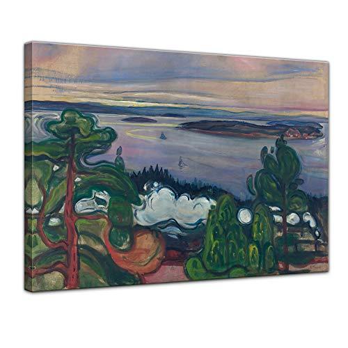 Wandbild Edvard Munch Train Smoke - 70x50cm quer - Alte Meister Berühmte Gemälde Leinwandbild Kunstdruck Bild auf Leinwand