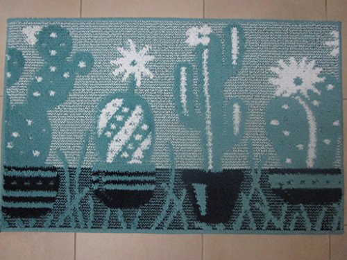 Pago Poco 'Neuheit. Kollektion 2018- 2019. Teppich Rutschfest Kaktus hellblau. Made in Italy. 57x145cm