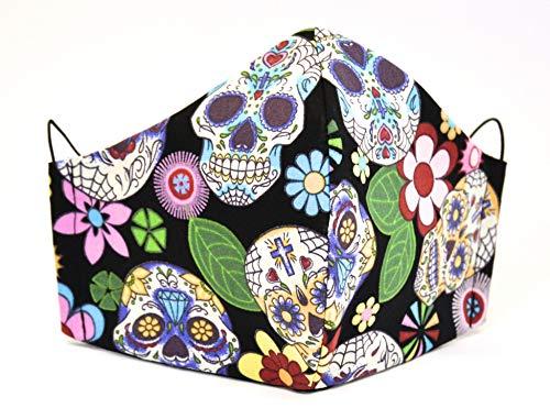 Stoffmaske Mexikanische Totenköpfe schwarz waschbare Baumwollmaske Dia de Muertos Facies wiederverwendbar (Kinder)