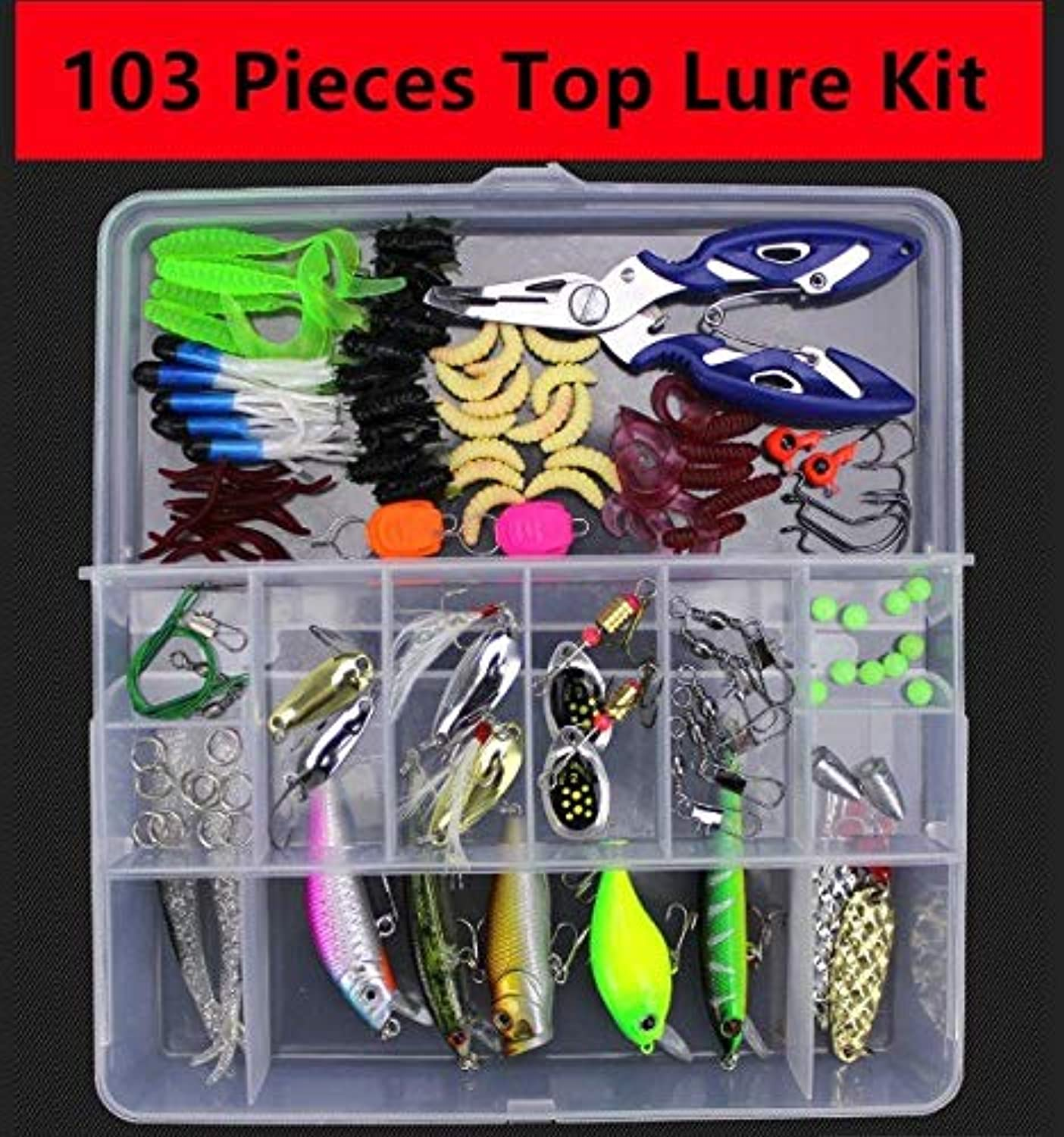 Generic Fishing Lure Kit 28106 Pieces Set Artificial Lures Beginning Primary Top Grade Suit MultiPurpose All Depth Tackle 103 Pieces Lure Kit