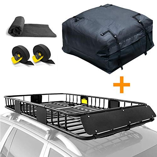 """XCAR Roof Rack Basket Top Luggage Holder 64""""x 39""""x 6"""" + Cargo Carrier Bag 15 Cubic with Mat & Straps"""