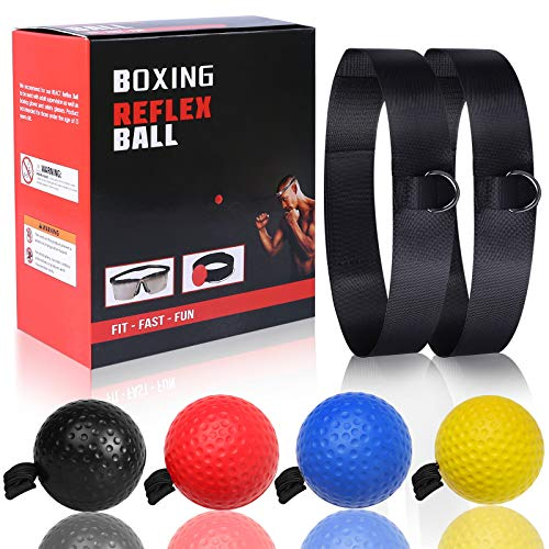 OOTO Boxsack Punchingball Stirnbandball, Boxen Ball Reflexball Boxtrainingsball Set für Boxtraining MMA Geschwindigkeitstraining, mit 2 Stirnbänder und 4 Trainingsbälle