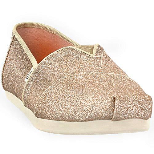 TOMS Womens Alpargata Casual Flats Shoes, Champagne Glitter, 6.5