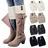 Loritta 4 Pairs Womens Boot Socks Winter Warm Crochet Knitted Boot Cuffs Topper Socks Short Leg Warmers Gifts,Style 04