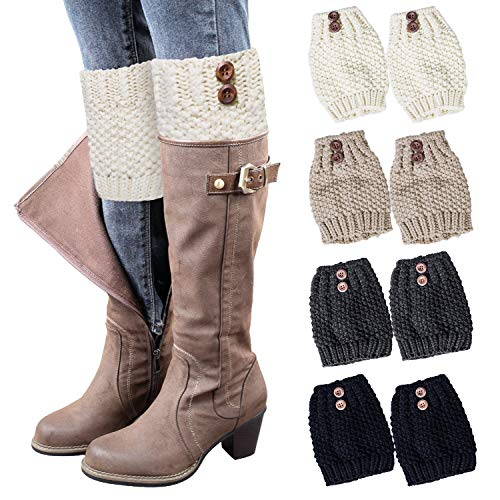 Loritta 4 Pairs Womens Boot Socks Winter Warm Crochet Knitted Boot Cuffs Topper Socks Short Leg Warmers Gifts,Style 04