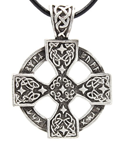 Trilogy Jewelry Pewter Solar Cross with Celtic Knots Pagan Pendant on Leather Necklace
