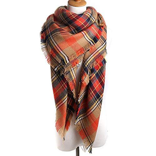 Manta a cuadros cálida bufanda de invierno para mujer, bufanda de manta de moda, bufandas largas para mujer a cuadros suaves, chal de mujer rectangular/cuadrado, regalos (140 * 140cm)