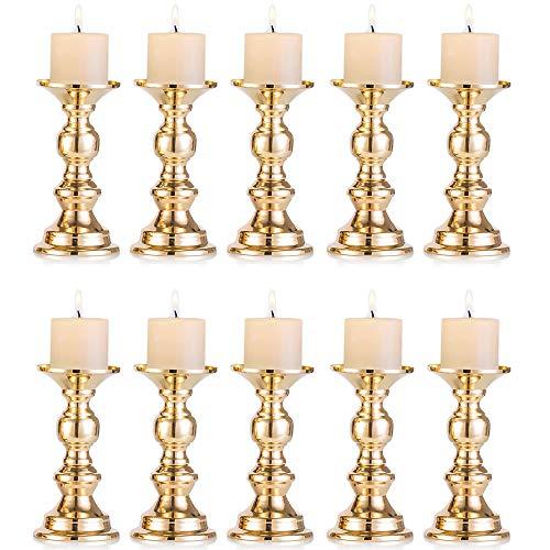 Set aus 10 Gold-Metall-Säulen-Kerzenhaltern, Hochzeit Mittelstücke Kerzenständer Kerzenständer Dekoration Ideal für Hochzeiten, Besondere Anlässe, Partys (Passend für 50mm Dia Kerze 15cm H, 10 Pcs)