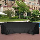 Powerdelux Patio Furniture Covers Outdoor Sectional Curved Couch Protector Heavy Duty Black Waterproof for Half-Moon Sofa Sets (M-120in Lx 35.83in Wx 39.98in H)