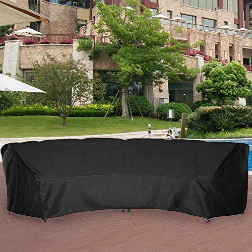 Powerdelux Patio Furniture Covers Outdoor Sectional Curved Couch Protector 600D Heavy Duty Black 190x36.22x39.98 Inches Waterproof for Half-Moon Sofa Sets