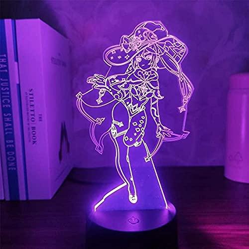 3D Anime Figura Lámpara Genshin Impacto Mona Led Noche Luz Manga Niños Regalos Escritorio Ilusión Mesa RGB Flash Modo Color Game-Control Remoto