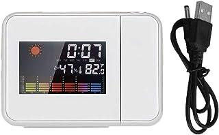 healthwen Proyección Digital Snooze Despertador Clima Pantalla LCD en Color Retroiluminación LED