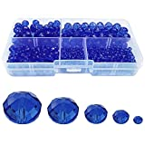 Chengmu 2-10mm Sapphire Blue Rondelle Glass Beads for Jewelry Making 710pcs Faceted Briolette Shape Crytal Spacer Beads Assortments Supplies Accessories for Bracelet Necklace with Cord