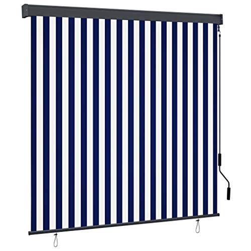 vidaXL Estor Enrollable de Exterior Persiana Toldo Vertical de Jardín Balcón Porche Pantallas de Privacidad Sombra 170x250cm Azul y Blanco
