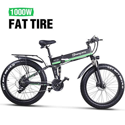 shengmilo e Bike Elektrofahrräder 26 Zoll e-Bike Mountainbike Klappbar Electric Fahrrad ebike Herren Damen Fetter Reifen 1000W Moto 48V Batterie 21 Gang Doppelte Hydraulische Scheibenbremse