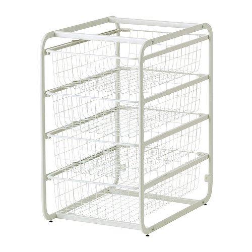 IKEA(イケア) ALGOT フレーム ワイヤーバスケット4個 ホワイト