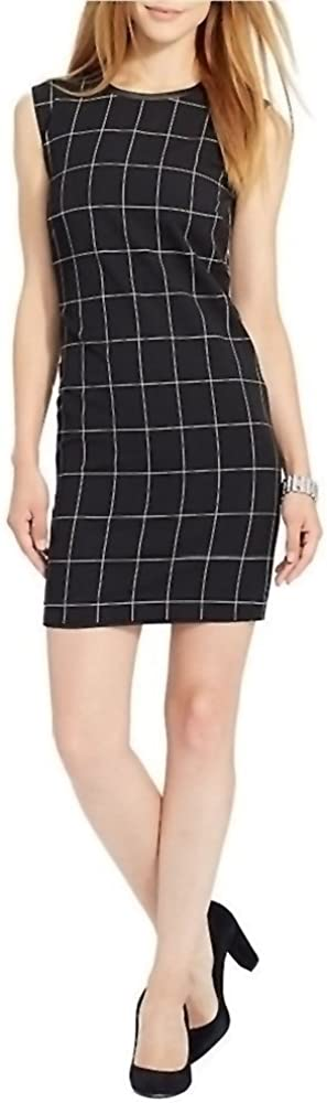 LAUREN RALPH LAUREN Leather Trim Sleeveless Checkered Dress Black (10)