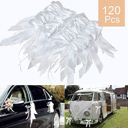 O-Kinee Autoschleifen Hochzeit 120 Stück Weiß, Hochzeitsschleifen Auto, Autoschmuck Vintage Für Hochzeit,Auto, Esstisch, Wohnkultur, Geschenktüte, Blumen