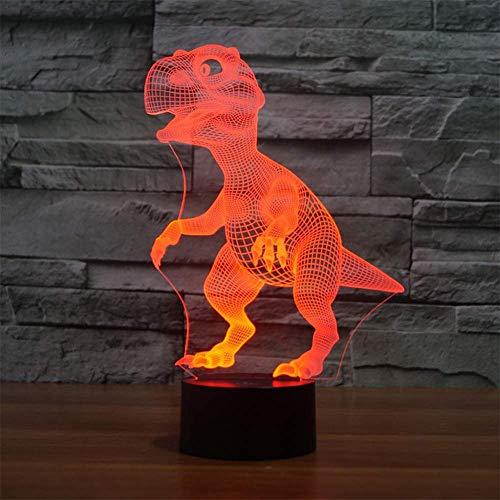 Lámpara 3D USB Power 7 colores Increíble ilusión óptica 3D Grow Lámpara LED Formas de dinosaurio Dormitorio para niños Luz nocturna Cable USB para regalo de niños