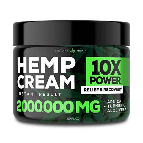 Instant Hemp Pain Relief Cream - 2,000,000 - Relieve Muscle, Joint & Arthritis Pain - Natural Hemp Extract for Arthritis, Foot & Back Pain - 2oz