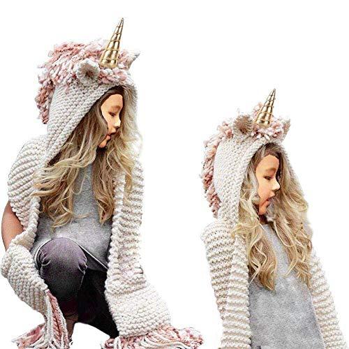 SevenPanda Bufanda con Capucha para Niñas Bufanda, Unicornio Lana Borla Sombreros Chal Invierno Capucha Gorra Capucha Gorros Capucha Bufandas para Niños de 3-12 Años Niñas - Unicornio Rosa