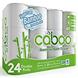 Product Image of the Caboo Tree Free Bamboo Toilet Paper, Septic Safe, Biodegradable, Eco Friendly Bath Tissue with Soft, Quick Dissolving 2 Ply Sheets (300 Sheets Per Roll, 24 Double Rolls)