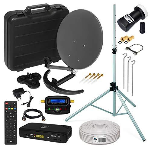 Mobile Camping SAT Anlage Ø35cm mit HD Receiver & Dreibeinstativ | Digital Set im Koffer mit Koaxkabel HDMI Kabel UHD Single LNB Satfinder | auch für Balkone geeignet