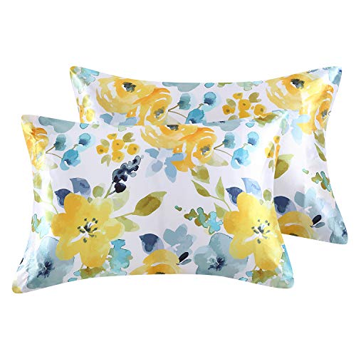 EXQ Home Silky Satin Pillowcase for Hair and Skin, Printed Pillow Cases Queen Size Set of 2 Cooling Dark Blue Pillow Cases with Envelope Closure ( 20x30inches,Yellow Flower