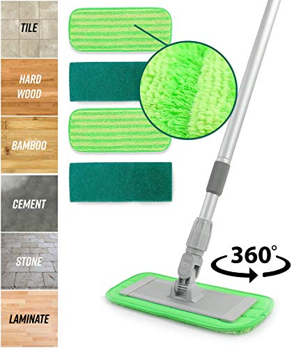 Microfiber Floor Mop System - 11 Pads and Adjustable Handle For Apartments & Hardwood Floor Cleaners - Includes 2 Dusting & 2 Scrubbing Pads - Perfect For Tile, Laminate, Vinyl, Linoleum