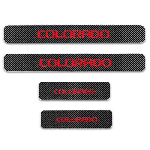 for Chevrolet Colorado Door Sill Protector Reflective 4D Carbon Fiber Sticker Door Entry Guard Door Sill Scuff Plate Stickers Auto Accessories 4Pcs Red