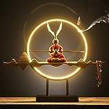Springisso Rey Mono Chino Zen Círculo De Iluminación LED Resistido Decoración Creativa del Equipamiento Casero De La Decoración del Sitio De Entrada del Té Regalo,F