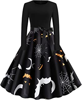 TOTOD Halloween Costume Women 1950s Vintage Printed Long Sleeve O-Neck Evening Cocktail Party Prom Dress