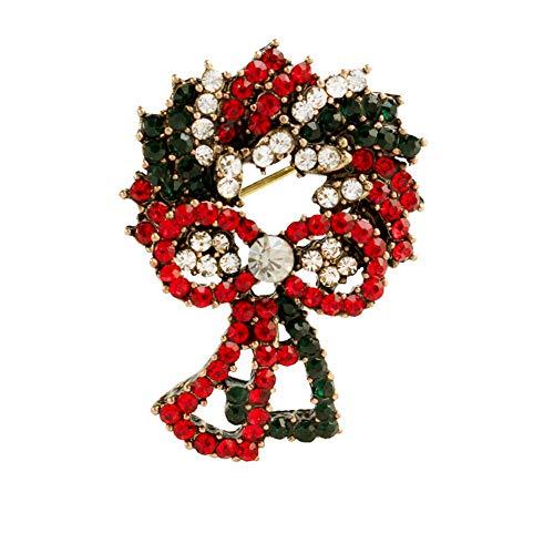Demarkt Broche Adventskrans Kerstbroche pin Kerstmis jurk decoraties goud