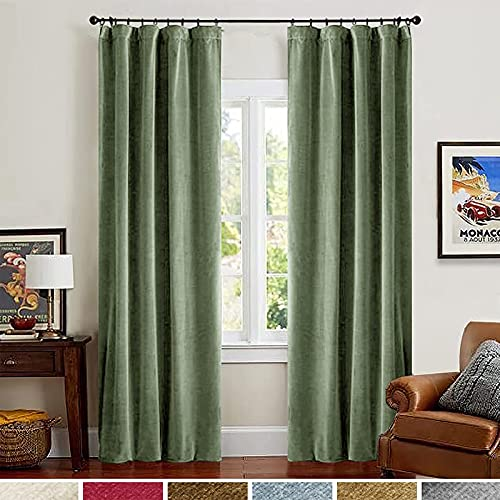 Lazzzy Blackout Velvet Curtains Green Light Blocking Thermal Insulated Drapes for Bedroom Living Room Darkening Curtain Rod Pocket 2 Panels Long 108 inch Extra Long Solid Sage