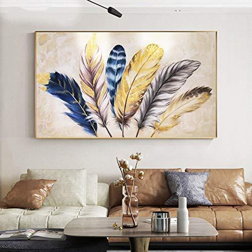 Arte de la pared de la lona impresión nórdica color pluma arte lienzo pinturas carteles imágenes para la decoración de la sala de estar-60x100cm sin marco