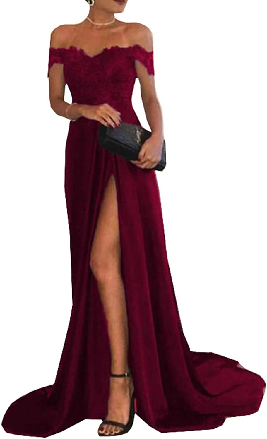 Engerla Bridal Off The Shoulder Evening Gowns Leg Slit Mermaid Sweetheart Prom Dresses Lace
