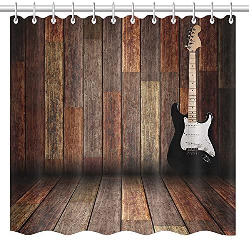 lovedomi Juego de accesorios de baño para decoración de baño de guitarra eléctrica con diseño retro de casa de campo de madera, cortina de ducha de tela de poliéster de 72 x 72 pulgadas