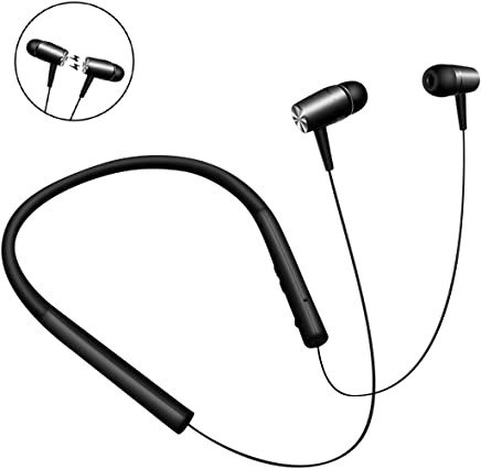 Bluetooth Headphones Wireless Neckband Headset Magnetic Design IPX5.5 Waterproof Retractable Stereo Earbuds with Microphone