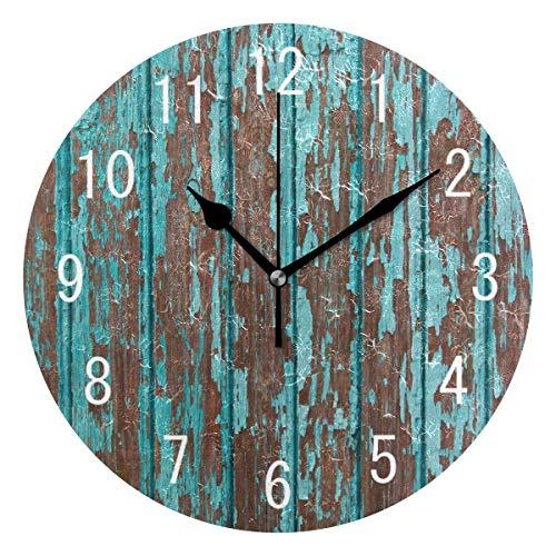 Use7 Home Decor Vintage Türkise Holz Runde Acryl Wanduhr nicht tickend leise Uhr Kunst für Wohnzimmer Küche Schlafzimmer