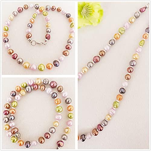 Damen kurze bunte Halskette aus Süßwasser Perlen, Frauen bunte Zuchtpelen Kette, bunte kultivierte Perlenkette, Geschenk für Mama, Frau, Freundin
