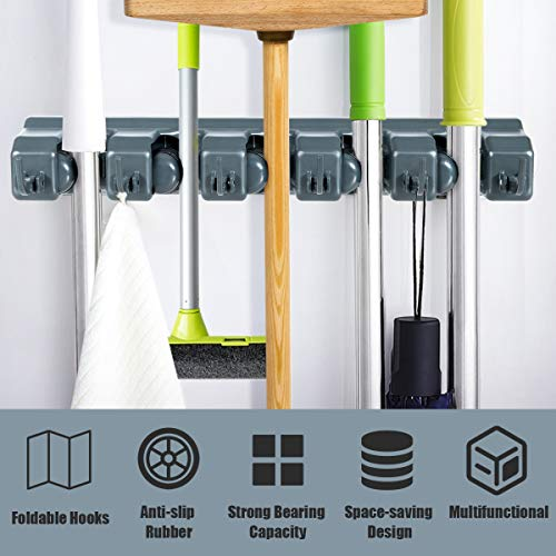 Tangkula    Mop Broom Holder Home Kitchen Garden Tool Organizer 5 Position with 6 Hooks Wall Mounted (Dark Grey)